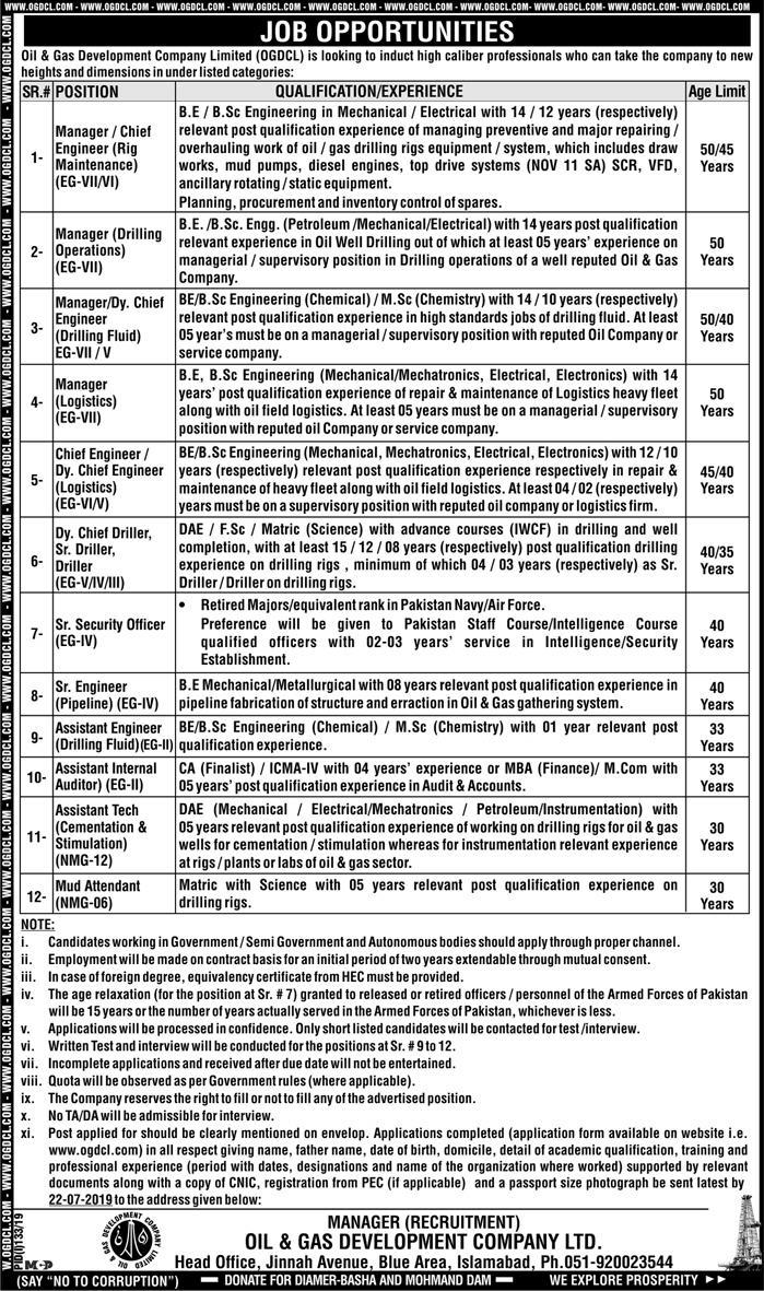 Oil And Gas Development Company Limited OGDCL Jobs July 2019