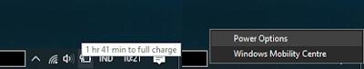 Klik kanan icon baterai > power option