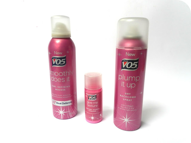 VO5 Smoothly Does It Curl Defining Mousse, VO5 Give Me Texture Instant Oomph Powder and VO5 Plump it Up Dry Backbomb Spray