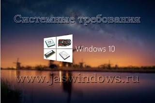 Системные требования Windows 10.