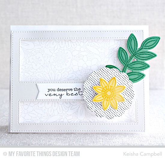 Handmade card from Keisha Campbell featuring Lisa Johnson Designs Delicate Pretty Poppies stamp set, Funky Flowers stamp set and Die-namics, Bundles of Blossoms Background and Myriad Dot Background stamps, Stitched Cover-Up Companion - Horizontal Die-namics #mftstamps