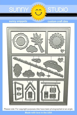 Sunny Studio Stamps: Comic Strip Everyday Dies with Frame, Layering Tree, House, Sunshine, Car, Clouds & Grass border