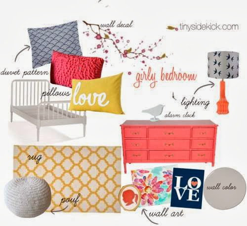 Coral, mustard and navy tween bedroom design
