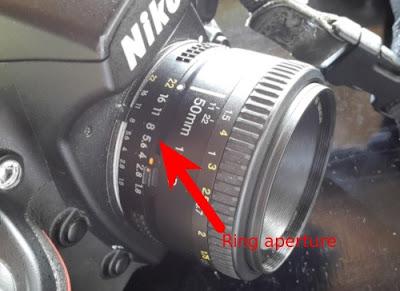 Ring aperture pada Lensa Nikon 50 mm f/1.8
