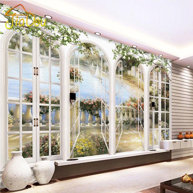 Scenic Wall Murals 3D Photo Wallpaper Bedroom Wall Murals Livingroom Window  View