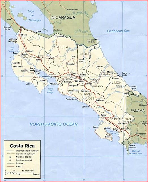 Gambar Peta politik Kosta Rika