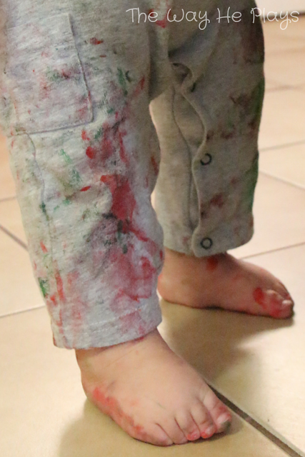 Paint covered feet after painting