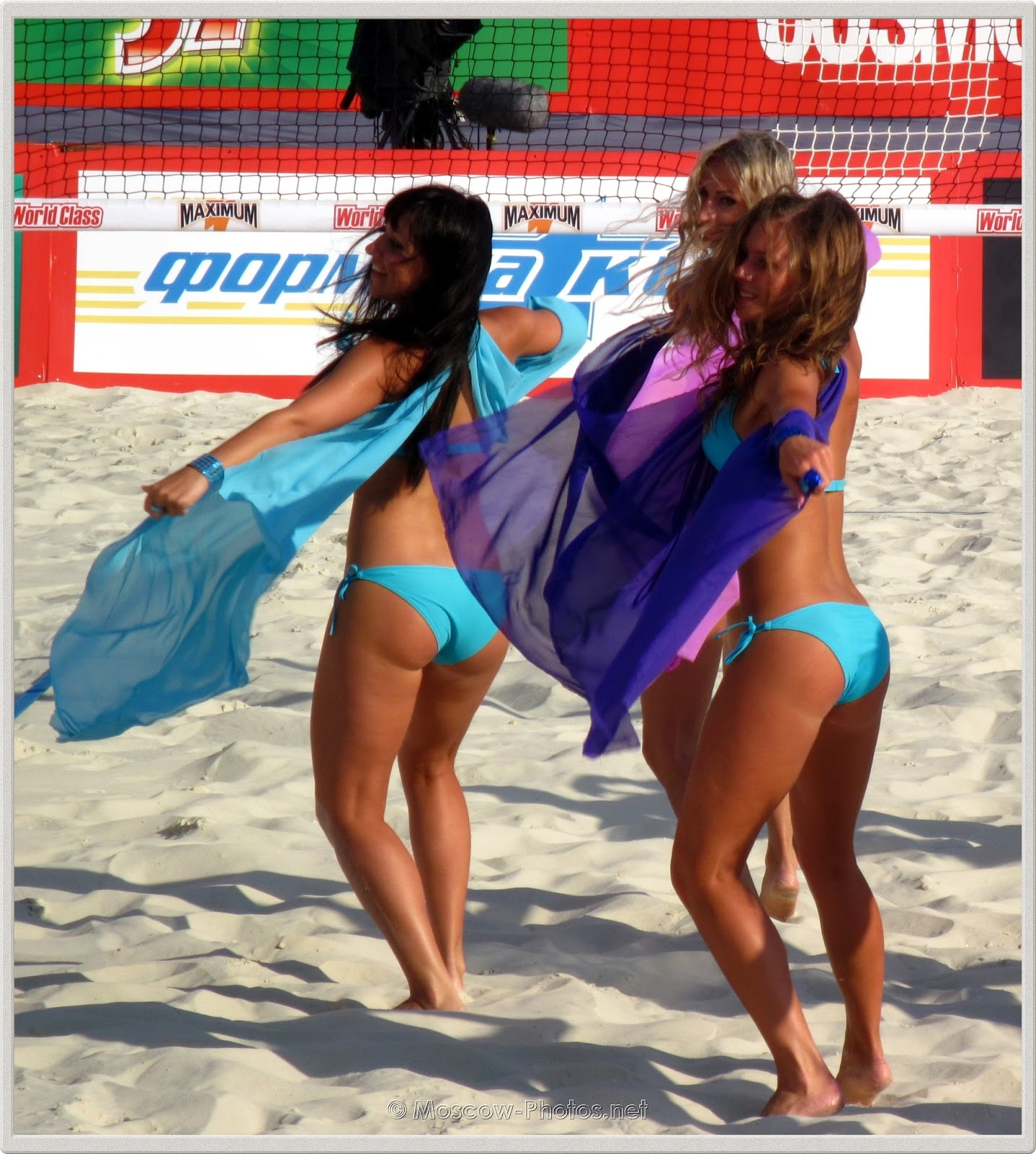 Blue Bikini Beach Volleyball Cheerleaders