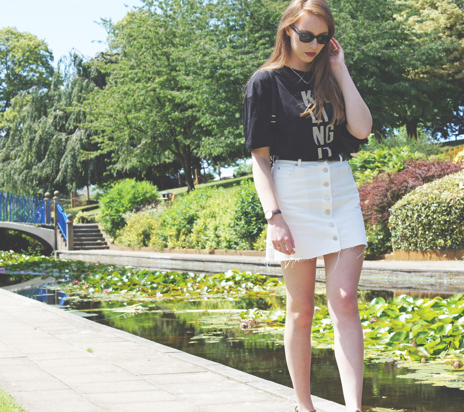 white denim button up skirt