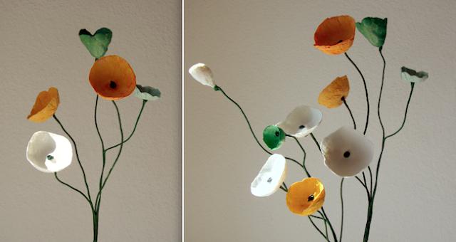 Matrimonio Green e Interior Design. Composizioni di fiori di carta , centrotavola in cartapesta