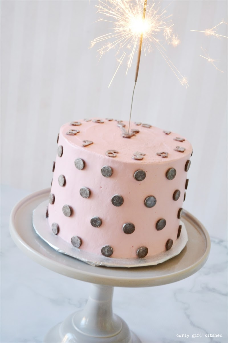 New Year's Eve Clock Cake, Countdown to Midnight Cake, Sparkler Cake, Polkadot Cake