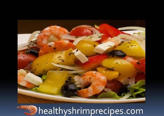 Healthy Greek salad with shrimp recipe