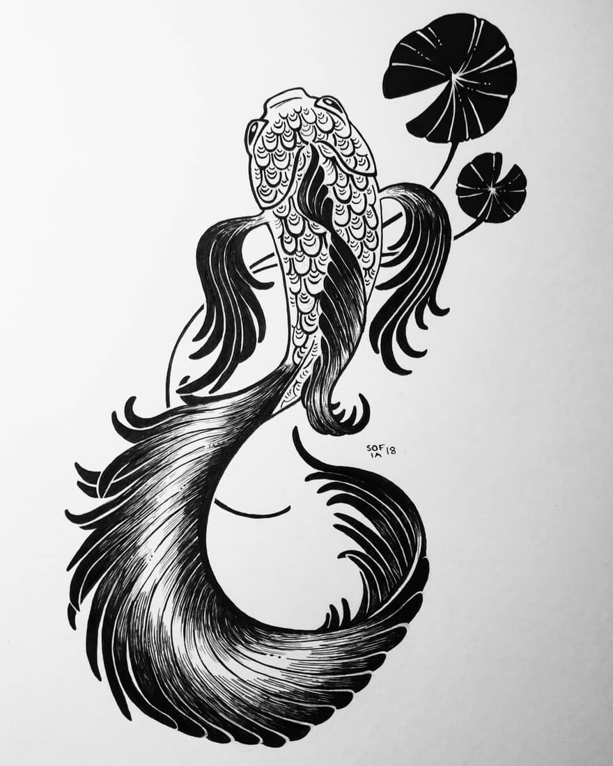 07-Tall-Fighter-Fish-Sofia-Härö-Black-and-White-Ink-Animal-Drawings-www-designstack-co