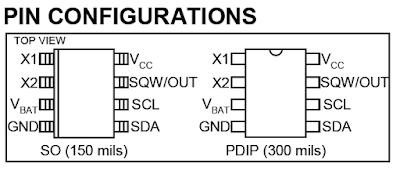 DS1307 real time clock RTC pin configuration PIC16F84A
