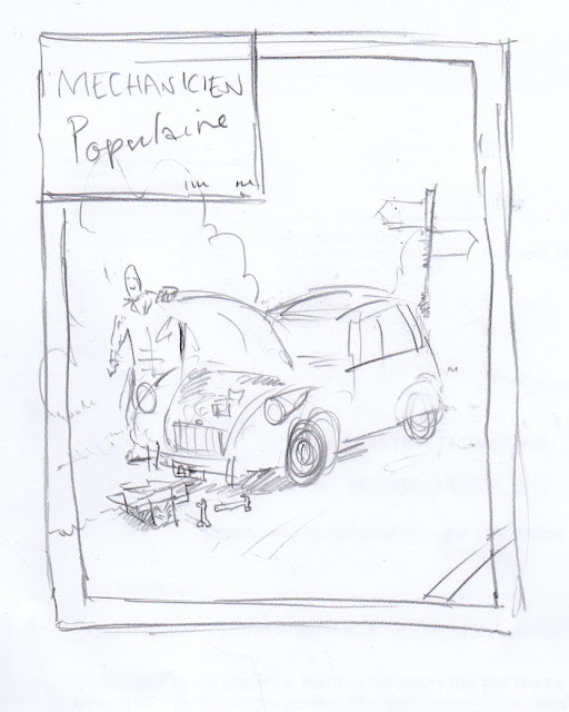 Initial pencil sketch to show idea for the presentation artwork in acrylics on paper.
