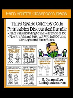 Fern Smith's Classroom Ideas Third Grade Math - Unit One Color By Code Printables with No Common Core at Teacherspayteachers.
