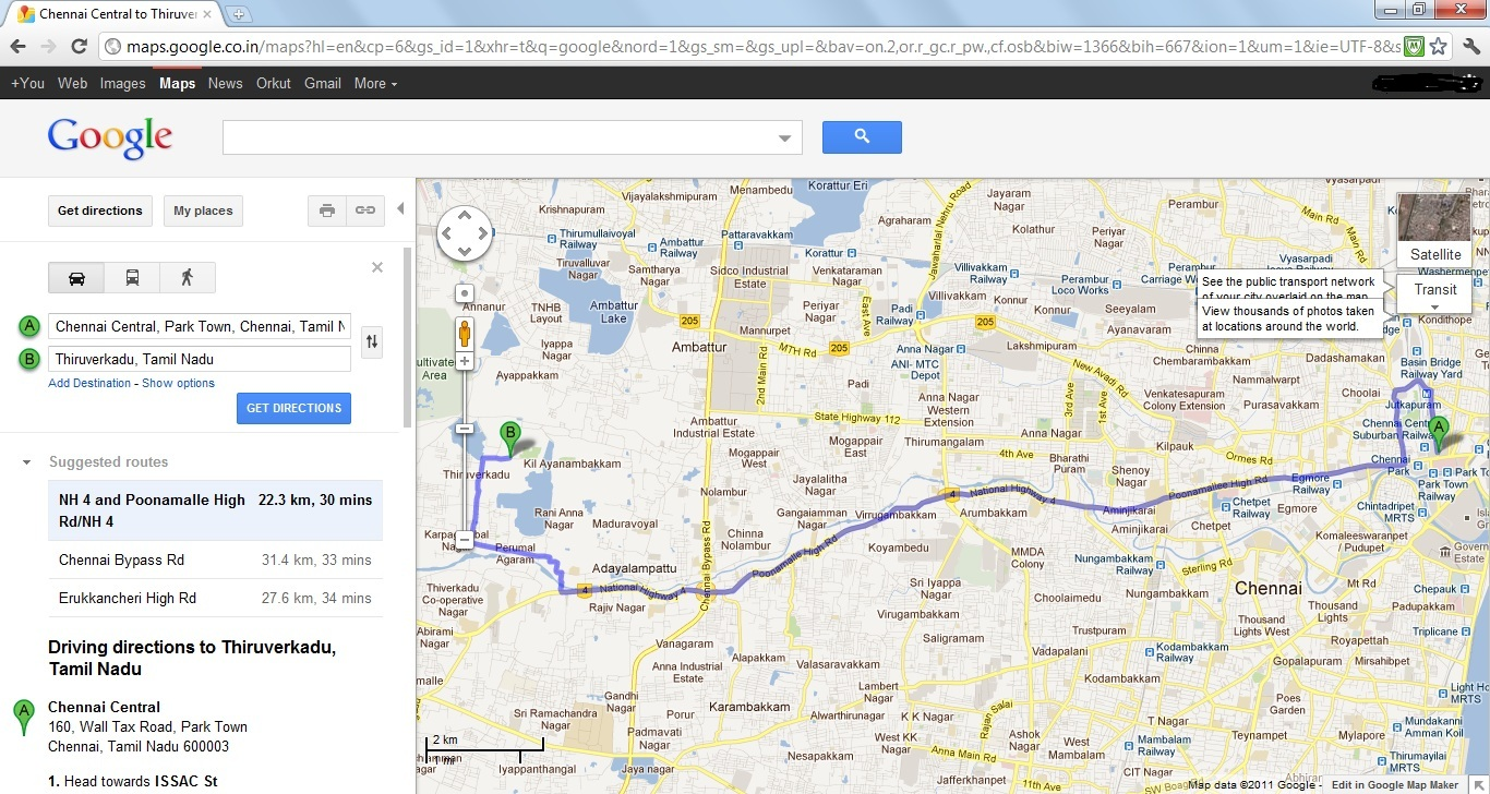 Chennai City Pictures: Chennai Central to Thiruverkadu ... on india map direction, street map direction, boston map direction,