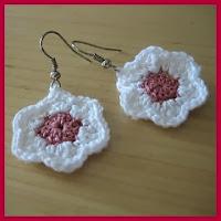Pendientes flor a crochet