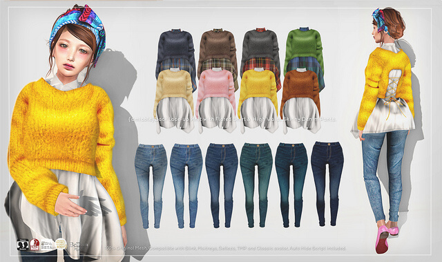{amiable}Back Lace-up Knit with Shirt & High Waist Skinny Denim@TRES CHIC(50%OFF SALE).