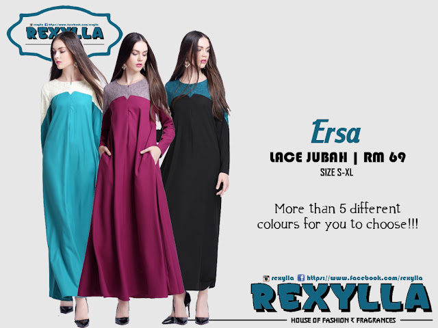 rexylla, lace jubah, ersa collection