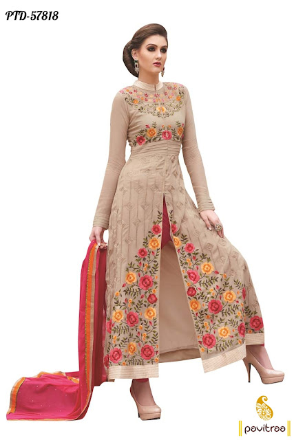 beige color santoon straight cut embroidery salwar suit online