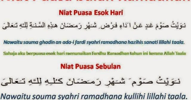 Niat Puasa Ramadhan Nu