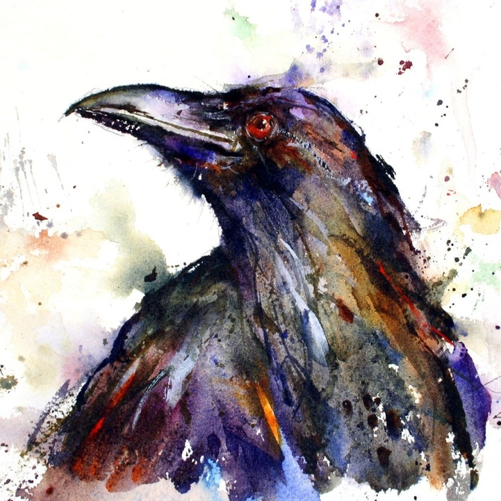 02-The-Crow-Dean-Crouser-A-Love-of-the-Outdoors-Spawns-Animal-Watercolor-Paintings-www-designstack-co