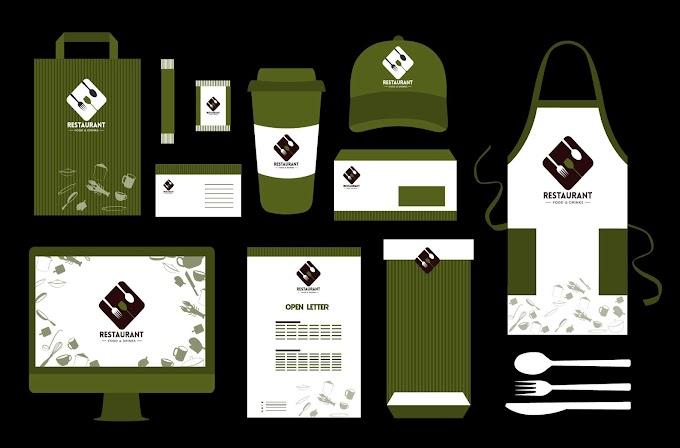 Restaurant identity sets dark green white decor Free vector