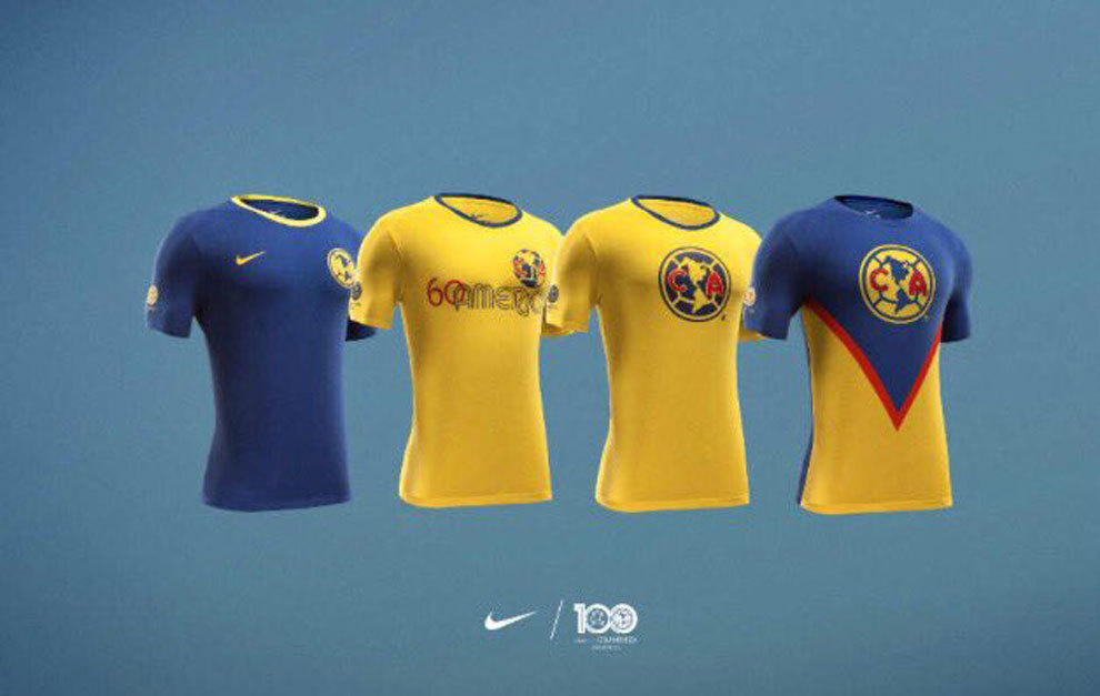 Camisetas Nike conmemorativas de los 100 años del Club America de Mexico - Ximinia