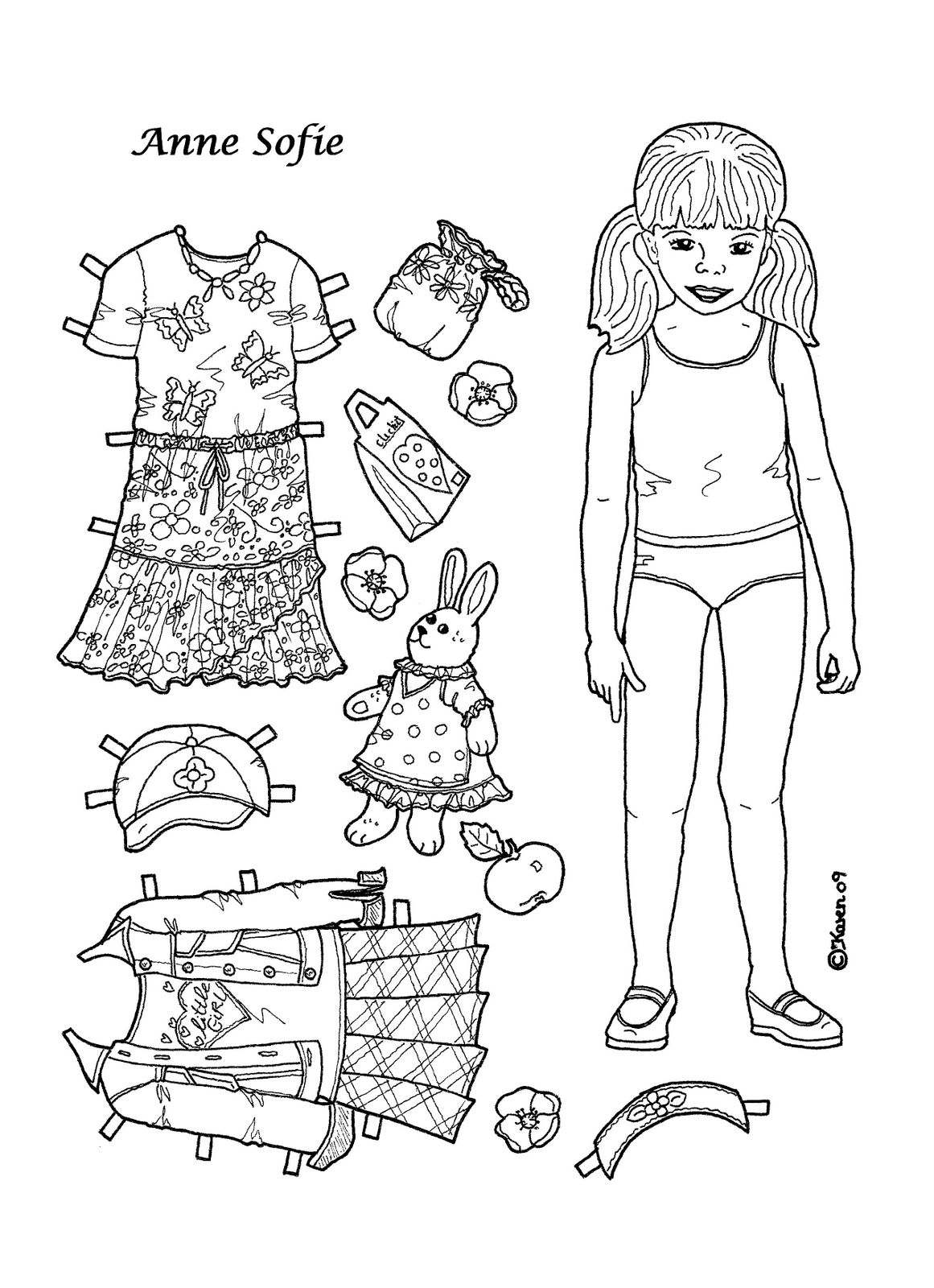 Karen`s Paper Dolls: Anne Sofie 1-4 Paper Doll to Colour