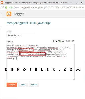 Cara Membuat Widget Artikel Baru di Blog