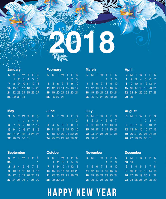 Free Download Happy New Year 2018 Calendar