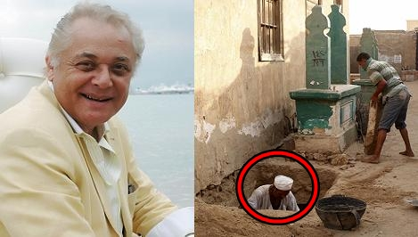 """هذا ما فعله """" الحانوتى """" الذي جهز قبر محمود عبد العزير قبل الدفن !! صدمة"""