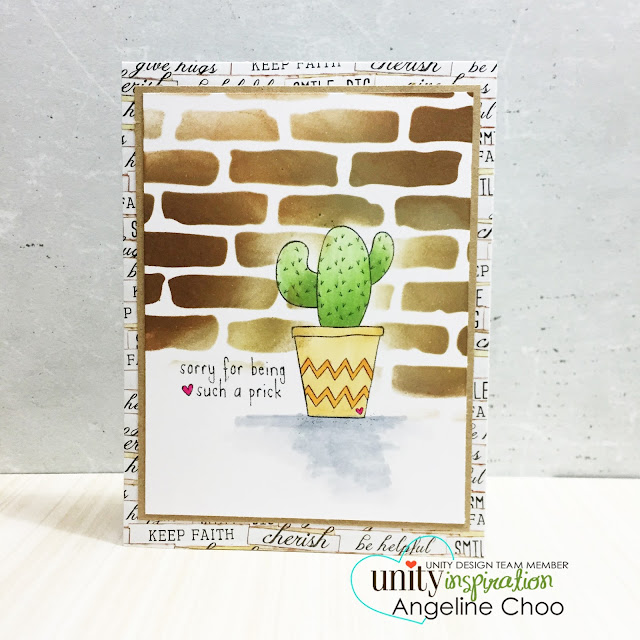 ScrappyScrappy: Unity Stamp Edgy & Cute Blog Hop + [NEW VIDEOS] - Cactus Sorry card #scrappyscrappy #unitystampco #stamp #card #papercraft #timholtz #distressink #cardmaking #youtube #handmadecard #stencil #copic #tcw