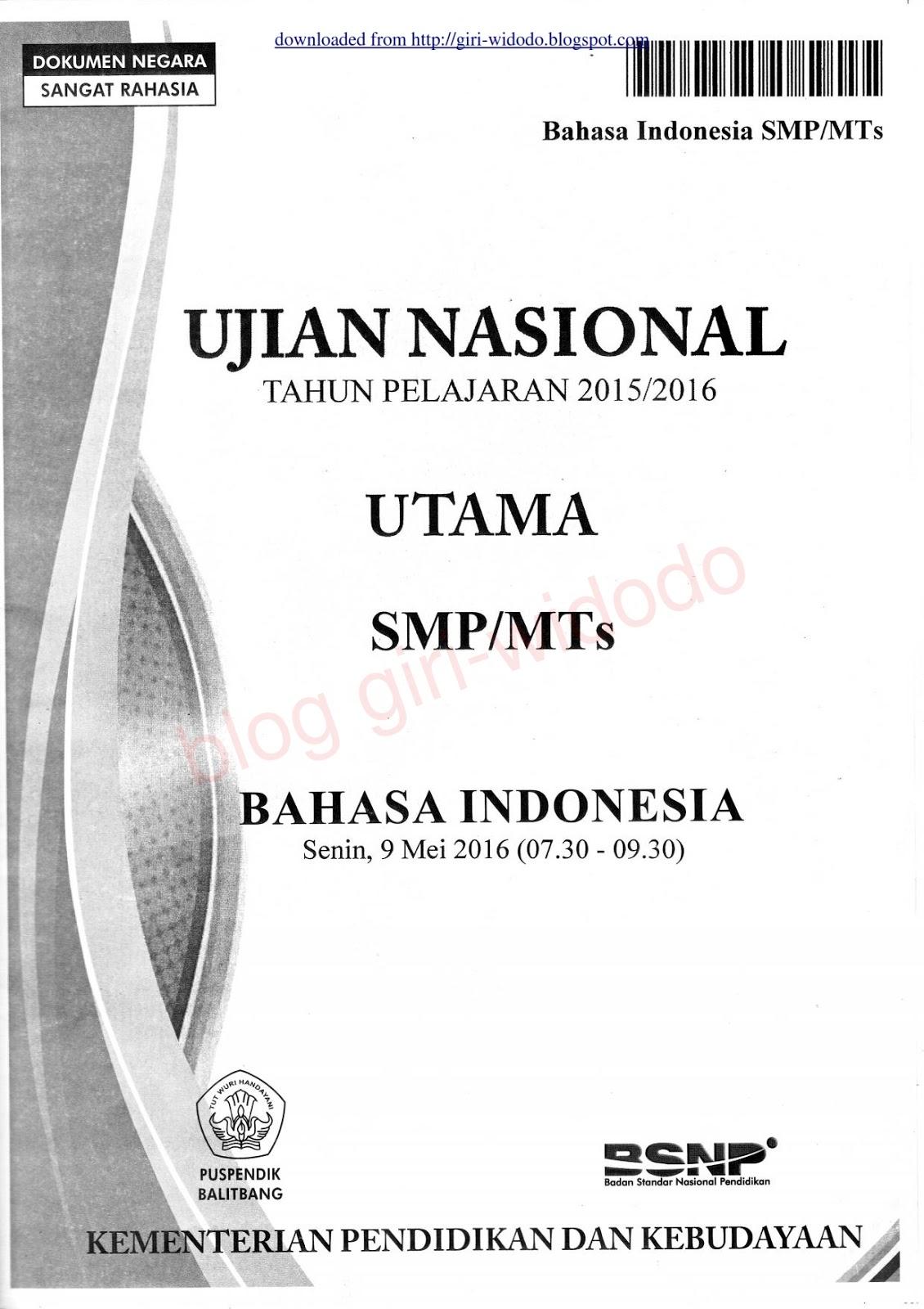 Soal Un Ipa 2016 Smp : Download, Bahasa, Indonesia, (Naskah, 2016), WIDODO
