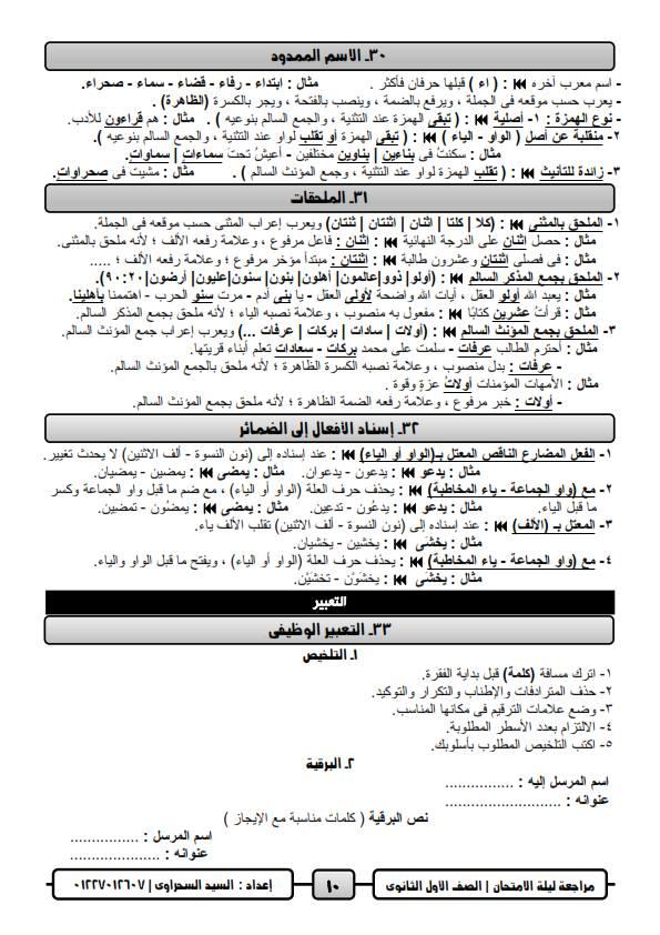 مراجعة ليلة امتحان اللغة العربية للصف الاول الثانوي ترم ثاني أ/ السيد السحراوي 10
