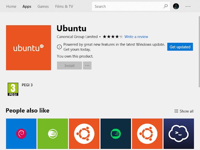 Linux Subsystem di Microsoft Store Windows 10 Gambar