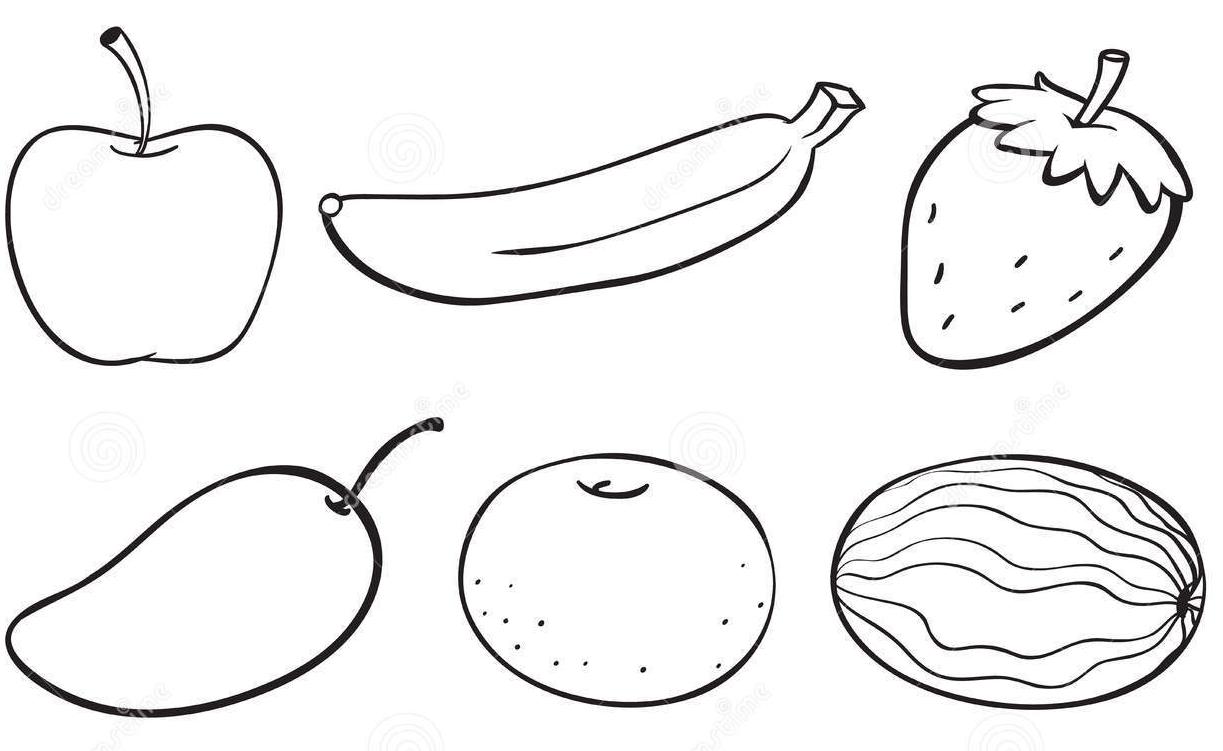 sketsa gambar mewarnai buah buahan hitam putih anak tk