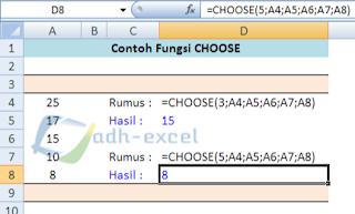 CHOOSE function in Excel