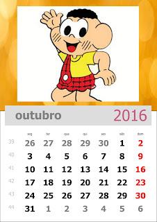 Calendário Turma da Mônica 2016 Outubro