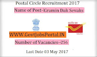 Postal Circle Recruitment 2017– 256 Gramin Dak Sevak (GDS)