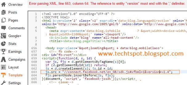 fix facebook xml code error in blogger