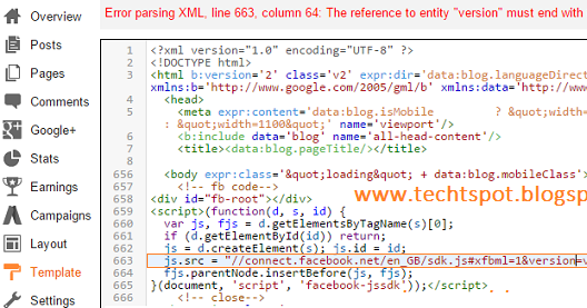 fix facebook xml code error in blogger