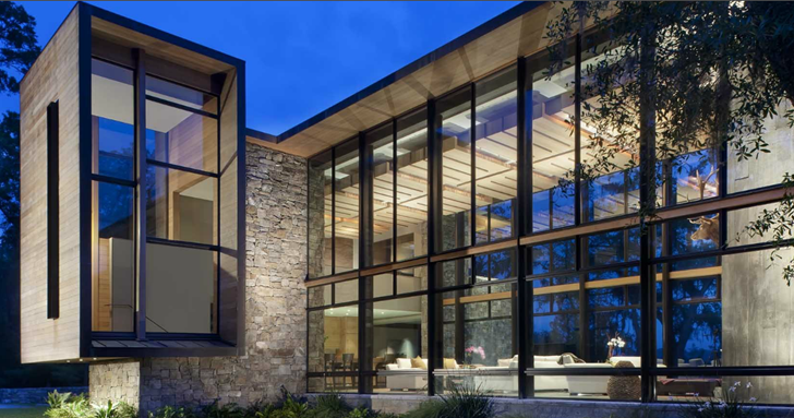 Glass facade of Modern house design by James Choate