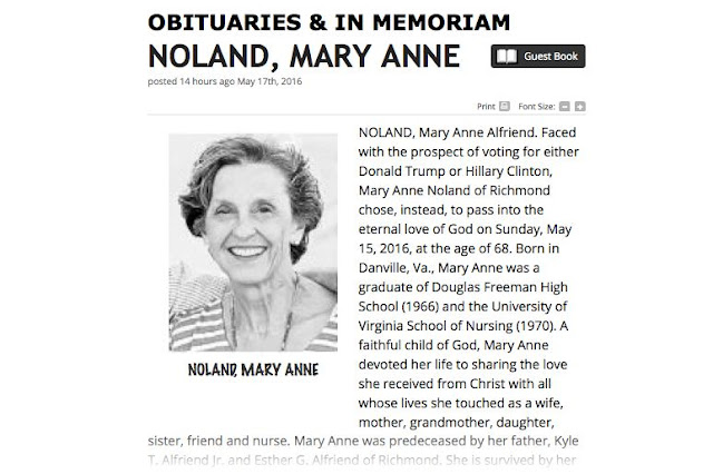 hilarious obituary of the woman who died rather than vote for hilary Clinton or Donald Trump