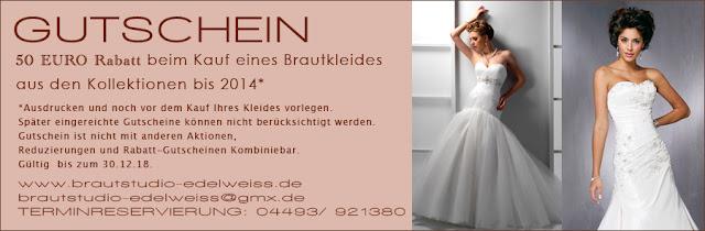 Gutscheine für Brautmoden, Brautkleider einlösen. Brautstudio Edelweiss.