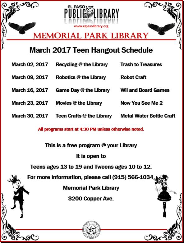 http://library-memorialpark.blogspot.com/2017/01/teen-hangout-schedule.html