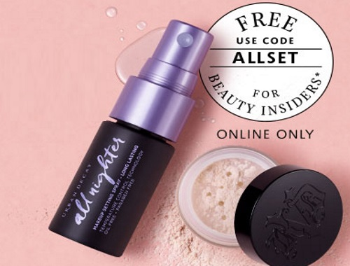 Sephora Free Urban Decay All Nighter Spray or Kat Von D Powder Deluxe Sample