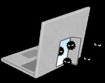 コンピューターのバックドアのイラスト