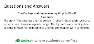 The Duchess and the Jeweller Summary and Notes BA English Literature